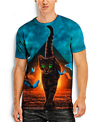 cheap -Men's T shirt 3D Print Cat Graphic Prints Animal 3D Print Short Sleeve Daily Tops Basic Casual Blue