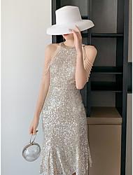 cheap -Sheath / Column Halter Neck Knee Length Sequined Bridesmaid Dress with Pleats / Sequin