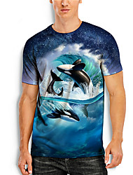 cheap -Men's T shirt 3D Print Graphic Prints Fish Animal 3D Print Short Sleeve Daily Tops Basic Casual Blue