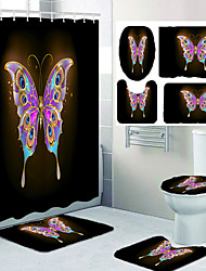 cheap -A Beautiful Butterfly Pattern Printing Bathroom Shower Curtain Leisure Toilet Four-piece Set