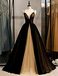 cheap -A-Line Color Block Beautiful Back Engagement Formal Evening Dress V Neck Sleeveless Sweep / Brush Train Tulle with Pleats 2021