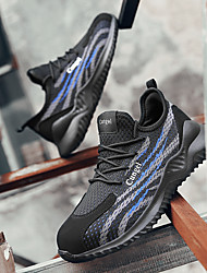 cheap -Men's Trainers Athletic Shoes Casual Daily Safety Shoes Tissage Volant Breathable Non-slipping Wear Proof Black / Red Black / Green Black / Blue Spring