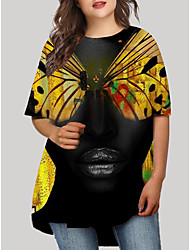 cheap -Women's Plus Size Graphic Animal Print Casual Half Sleeve Fall Short Mini Dress T Shirt Dress Tee Dress Black