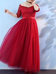 cheap -A-Line Plus Size Elegant Engagement Formal Evening Dress Off Shoulder Half Sleeve Floor Length Tulle with Lace Insert 2021