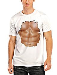 cheap -Men's T shirt 3D Print Graphic 3D Muscle Print Short Sleeve Daily Tops White