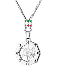 cheap -Men's Resin Pendant Necklace Classic Leaf Simple Titanium Steel Silver 55 cm Necklace Jewelry 1pc For Anniversary Street Birthday Party Festival