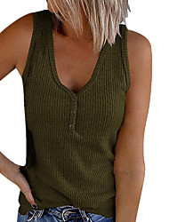 cheap -2021 amazon wish summer new european and american cross-border women's button vest solid color v-neck sleeveless t-shirt top