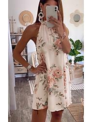 baratos -Mulheres Vestido de turno Mini vestido curto Branco Sem Manga Floral Estampado Primavera Verão Nadador Casual 2021 S M L XL / Feriado
