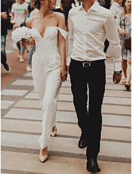 cheap -Jumpsuits Wedding Dresses Off Shoulder Ankle Length Stretch Fabric Short Sleeve Simple with 2021