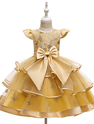 cheap -Ball Gown Knee Length Wedding / Event / Party Flower Girl Dresses - Tulle / Polyester Sleeveless Jewel Neck with Bow(s) / Tier / Embroidery