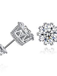 cheap -Women's Girls' AAA Cubic Zirconia Earrings Classic Birthday Precious Sweet Imitation Diamond Earrings Jewelry White For Festival 1 Pair