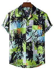 cheap -Men's Shirt Other Prints Tree Palm Leaf Print Short Sleeve Casual Tops Beach Tropical Light Green