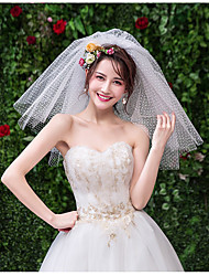 cheap -Two-tier Cute Wedding Veil Shoulder Veils with Solid 30 cm Tulle