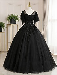 cheap -Ball Gown Luxurious Floral Quinceanera Prom Dress Scoop Neck Short Sleeve Floor Length Tulle with Pleats Embroidery 2021