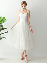cheap -A-Line Wedding Dresses Spaghetti Strap Strapless Ankle Length Tulle Sleeveless Romantic Beach Little White Dress Elegant with Pleats 2021