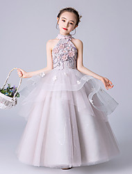 cheap -Princess Floor Length Wedding / Event / Party Flower Girl Dresses - Tulle Sleeveless Halter Neck with Beading / Tier / Appliques