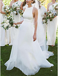 cheap -A-Line Wedding Dresses Jewel Neck Court Train Stretch Fabric Sleeveless Country Simple Beach with 2021