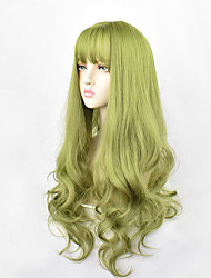 cheap -24inch Synthetic Green Black Hair Curly Big Wave Cosplay Wigs With Bangs for Women African American Heat Resistant Fiber Hair