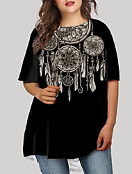 cheap -Women's Plus Size Dress T Shirt Dress Tee Dress Short Mini Dress Half Sleeve Print Tribal Print Basic Fall Spring Summer Black XL XXL 3XL 4XL 5XL