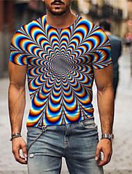 cheap -Men's T shirt 3D Print Graphic Optical Illusion Print Short Sleeve Daily Tops Basic Rainbow