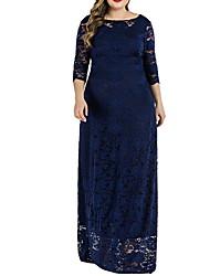 cheap -Women's Plus Size Dress Swing Dress Maxi long Dress 3/4 Length Sleeve Solid Color Backless Lace Casual Fall Summer Wine Black Navy Blue XL XXL 3XL 4XL 5XL