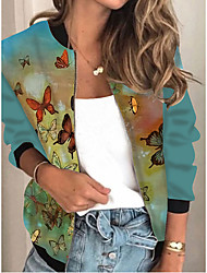cheap -Women's Animal Patterned Print Active Spring &  Fall Jacket Regular Daily Long Sleeve Air Layer Fabric Coat Tops Dusty Blue