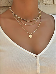 cheap -Women's Necklace Layered Necklace Simple Fashion European Alloy Gold Silver 35 cm Necklace Jewelry 1pc For