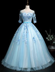 cheap -Ball Gown Elegant Floral Quinceanera Prom Dress Illusion Neck Half Sleeve Floor Length Tulle with Sash / Ribbon Pleats Appliques 2021