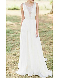 cheap -A-Line Wedding Dresses Jewel Neck Sweep / Brush Train Chiffon Lace Sleeveless Romantic Beach with Appliques 2021