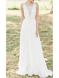 cheap -A-Line Wedding Dresses Jewel Neck Sweep / Brush Train Chiffon Lace Sleeveless Romantic Beach with Appliques 2021