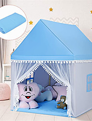 cheap -Kids Play Tent, Large Playhouse w/ Washable Mat, Windows, Solid Wood Frame, Indoor Outdoor Princess Tent for Children Boys & Girls, Castle Fairy Tent, Holiday Birthday Gift (Blue/Pink)