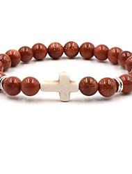 cheap -8mm beads cross bracelet for women men natural stone elastic link prayer bracelet for boy girls