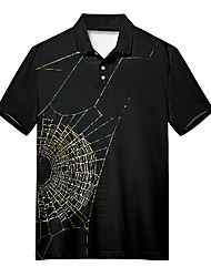 cheap -Men's Polo 3D Print Spider web Button-Down Print Short Sleeve Casual Tops Casual Fashion Soft Breathable Black