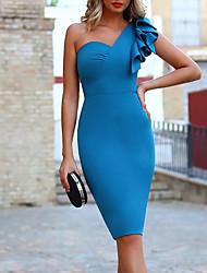 cheap -Sheath / Column Minimalist Elegant Engagement Cocktail Party Dress One Shoulder Short Sleeve Knee Length Stretch Fabric with Sleek 2021