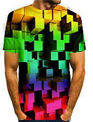 cheap -Men's T shirt 3D Print Graphic 3D 3D Print Short Sleeve Daily Tops Basic Casual Rainbow
