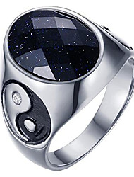 cheap -hijones men's stainless steel yin yang ring with oval white gemstone size 8