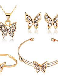 cheap -Women's Jewelry Set Bridal Jewelry Sets 3D Butterfly Precious Fashion Rhinestone Gold Plated Earrings Jewelry 1# / 2# For Christmas Wedding Halloween Party Evening Gift 1 set