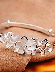 cheap -Women's Cuff Bracelet Bracelet 3D Flower Fashion Copper Bracelet Jewelry Silver For Christmas Halloween Party Evening Gift Date / Silver Plated