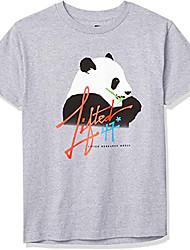 cheap -Men's T shirt Hot Stamping Graphic Prints Panda Print Short Sleeve Casual Tops 100% Cotton Basic Casual Fashion Black Gray