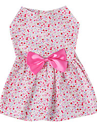 cheap -Dog Dress Puppy Clothes Bowknot Fashion Casual / Daily Dog Clothes Puppy Clothes Dog Outfits Red Blue Costume for Girl and Boy Dog Cotton XS S M L XL
