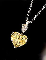 cheap -Women's Pendant Necklace Charm Necklace Classic Heart Precious Fashion Zircon Copper Gold Plated White Yellow Blushing Pink 45 cm Necklace Jewelry 1pc For Christmas Wedding Party Evening Street Gift
