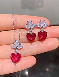 cheap -Women's Red Gemstone Jewelry Set Chandelier Heart Dainty Stylish European Sweet Gold Plated Earrings Jewelry 1# / 2# / 3# For Wedding Party Evening Street Gift Festival