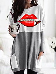 cheap -Women's T shirt Graphic Lips Long Sleeve Pocket Round Neck Tops Basic Basic Top Black Orange Khaki