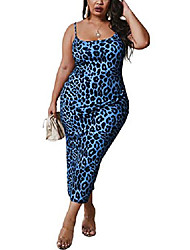 cheap -sexy blue leopard plus size club dress for women spaghetti strap bodycon sleevless midi club night out party dresses 2x