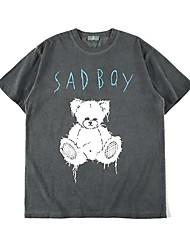 cheap -Men's T shirt Hot Stamping Graphic Prints Bear Print Short Sleeve Casual Tops 100% Cotton Basic Casual Fashion Black