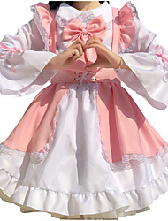 cheap -Lolita Lolita Cute Dress Women's Japanese Cosplay Costumes Light Pink Solid Color Long Sleeve Above Knee / Apron