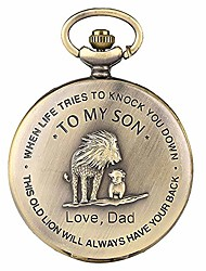 "cheap -retro pocket watch,""to my son, love dad"" cartoon lion king pattern quartz full hunter pocket watch with chain personalized watch gift"