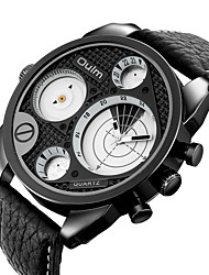 cheap -Oulm Men's Sport Watch Analog Quartz Sporty Big Face Dual Time Zones / Two Years / Genuine Leather