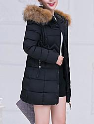 cheap -Women's Solid Colored Fur Trim Active Winter Puffer Jacket Regular Work Long Sleeve Cotton Blend Coat Tops Black