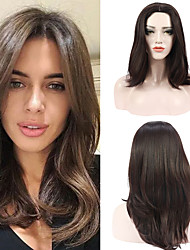 cheap -Synthetic Wig Wavy Middle Part Natural Hairline High Temperature Fiber Wigs